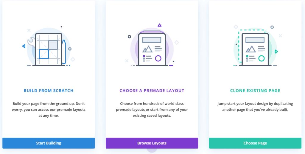 Choose Divi page creation options