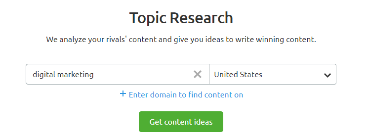 topic research tool - search