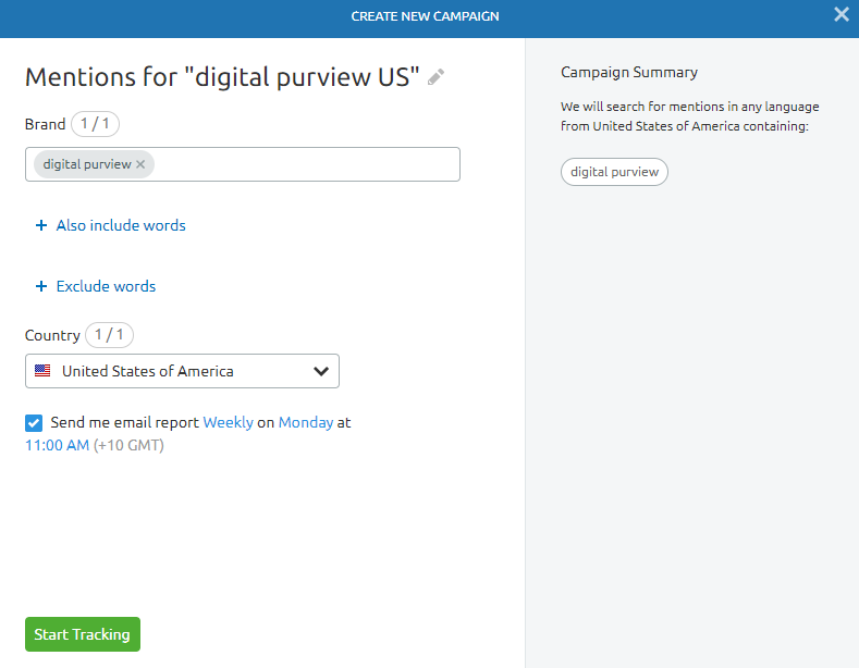 Online Brand Monitoring Settings