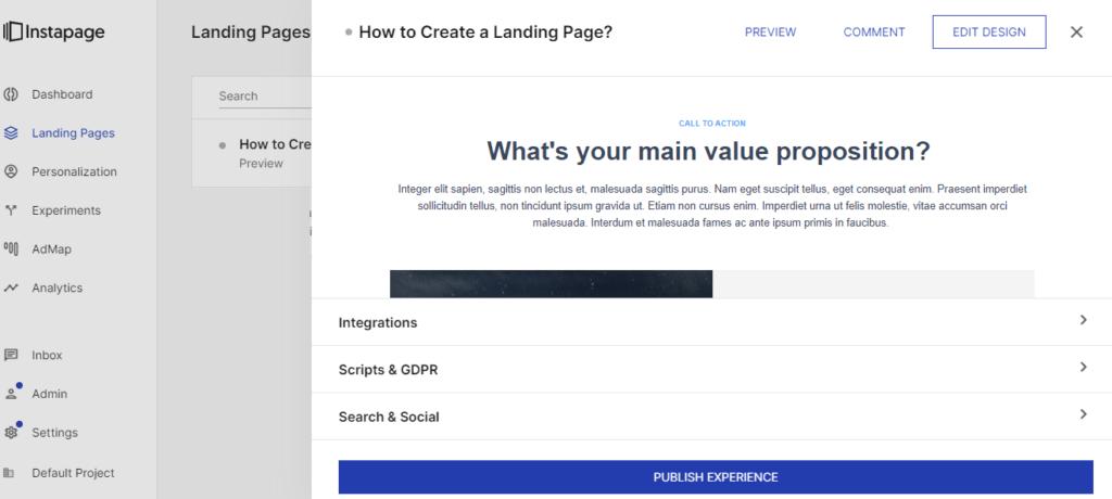 Instapage - edit design