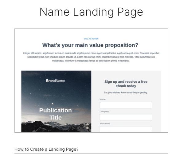 Instapage - name landing page