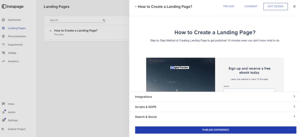 Instapage - publish landing page