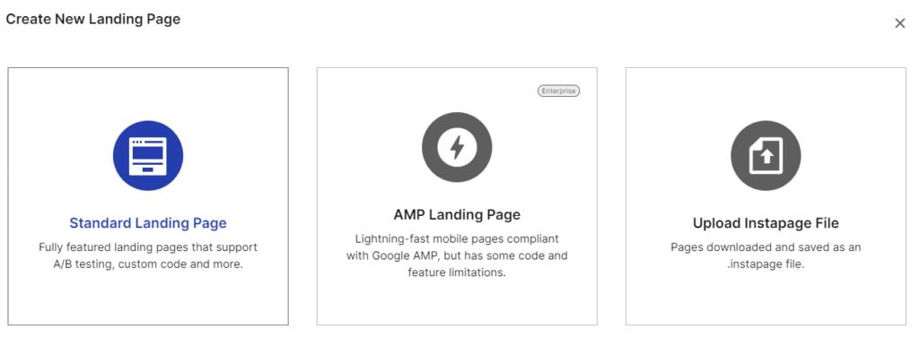 Instapage - Choose standard landing page