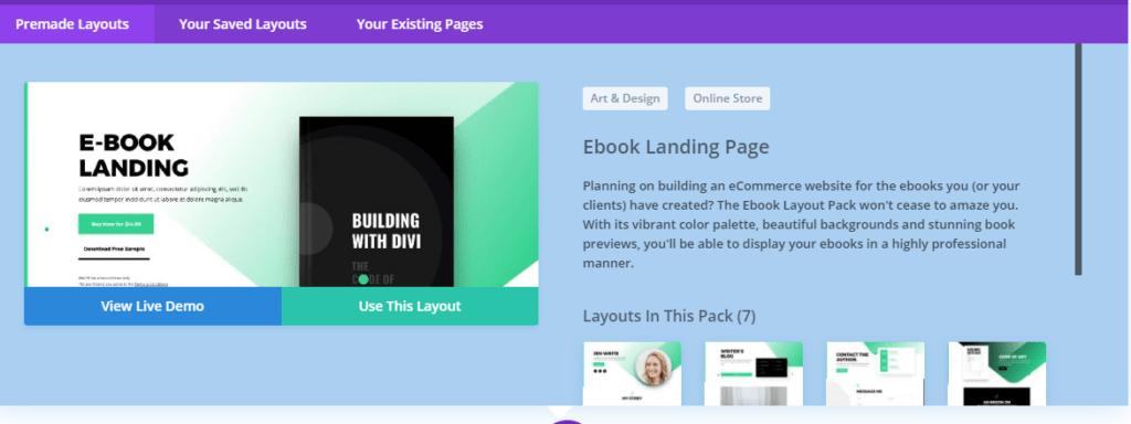 Choose Divi layouts