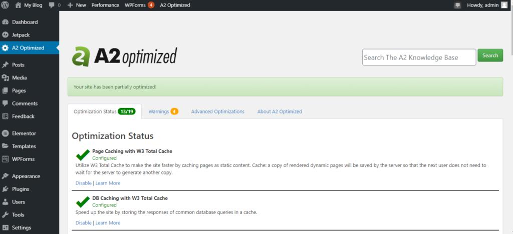 A2Optimized - Optimization status